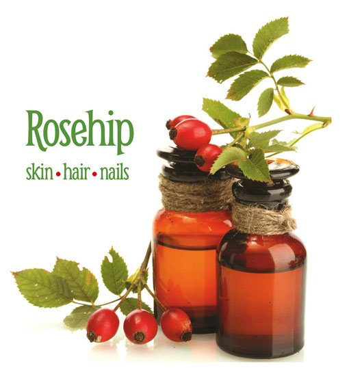 Rustic bottles with rosehip oil and fruit
